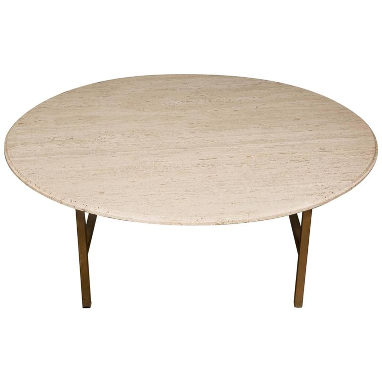 Mid Century Round Coffee Table In Travertine Sweden Circa 1950 At 1stdibs