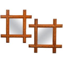 Companion Pair of Tramp Art Mirrors