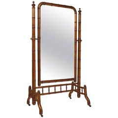 "English Antique Faux Bamboo ""Psyche"" Mirror"