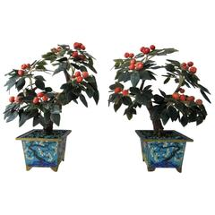 Pair of Early 20th Century Carved Jade Orange Blossom Trees