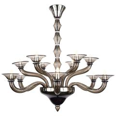 Murano Smoked Mercury Glass Chandelier