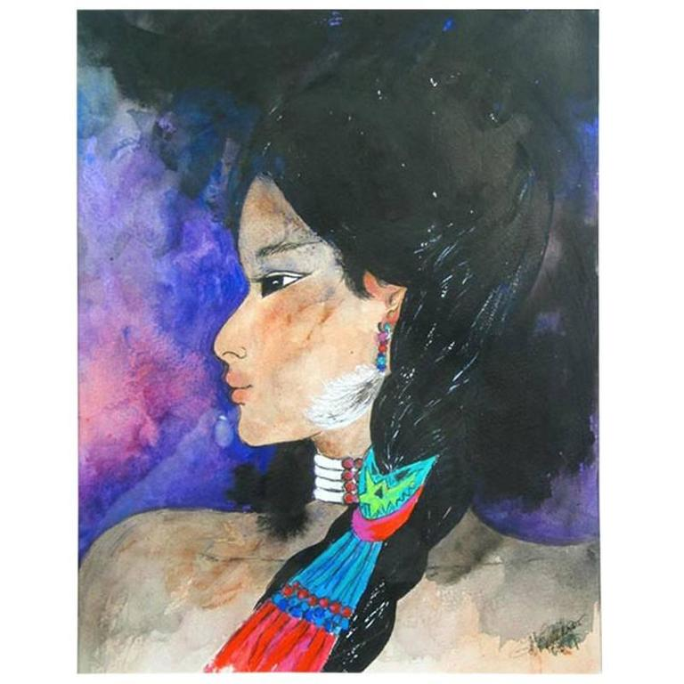 Native American Girl Painting For Sale