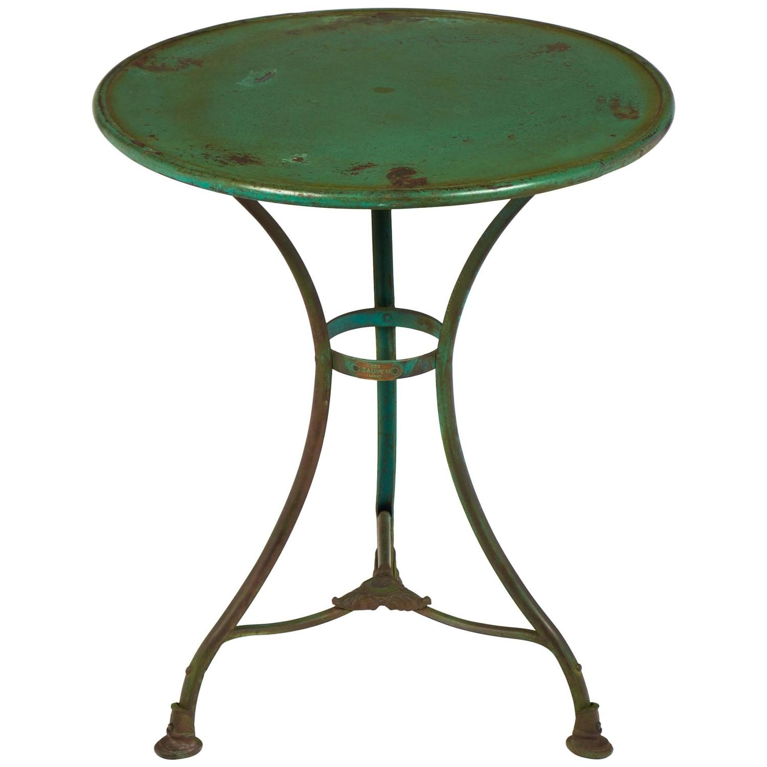 French Green Hammered Iron Bistro Table