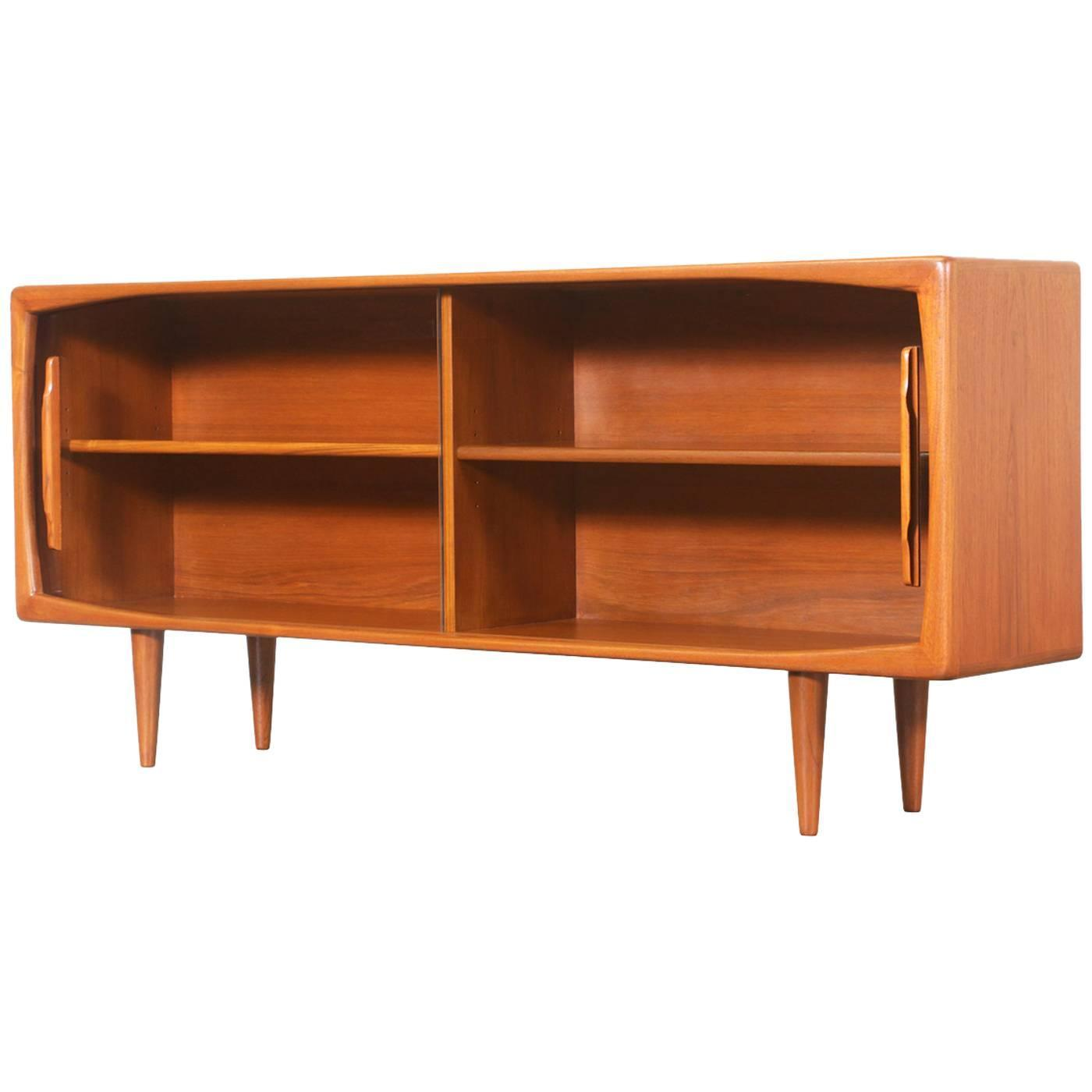 Danish Modern Teak Bookcase With Glass Doors By H P