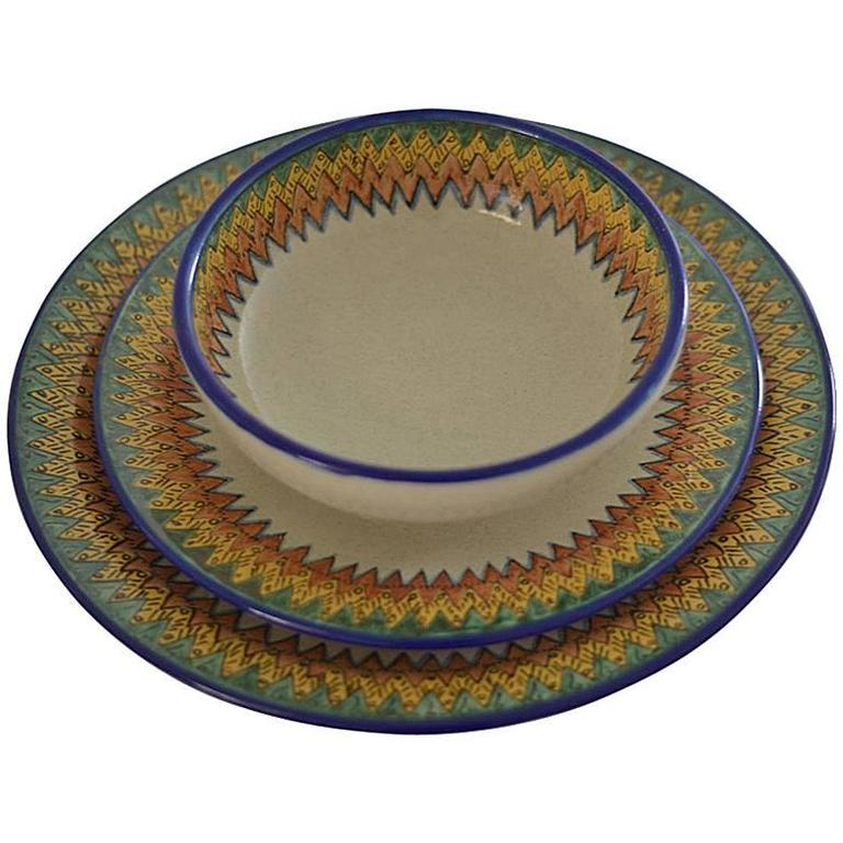 Mexican Colorful Talavera Dinner Set For Sale  sc 1 st  1stDibs & Mexican Colorful Talavera Dinner Set For Sale at 1stdibs