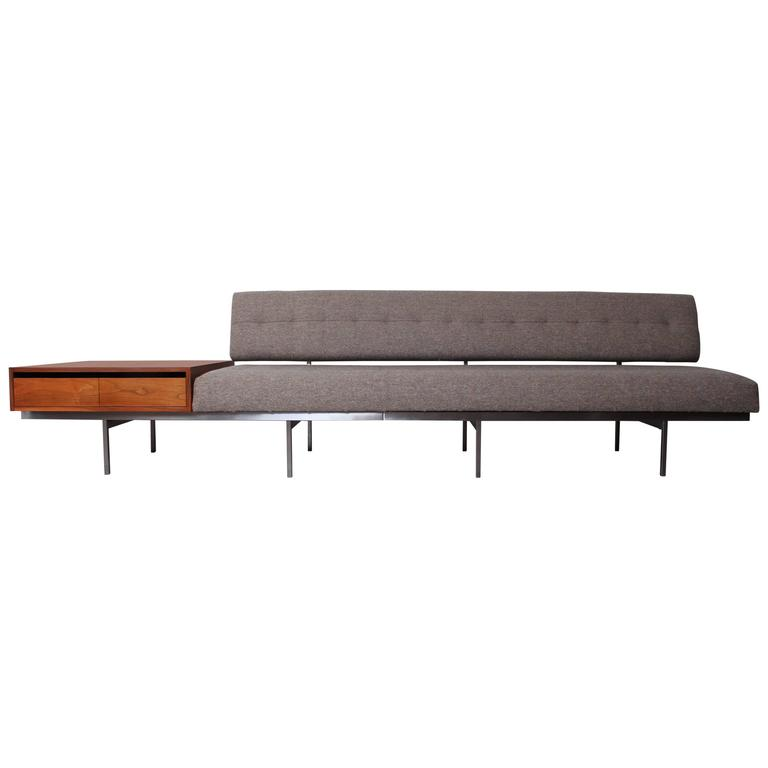 Florence Knoll Sofa With Attached Cabinet For