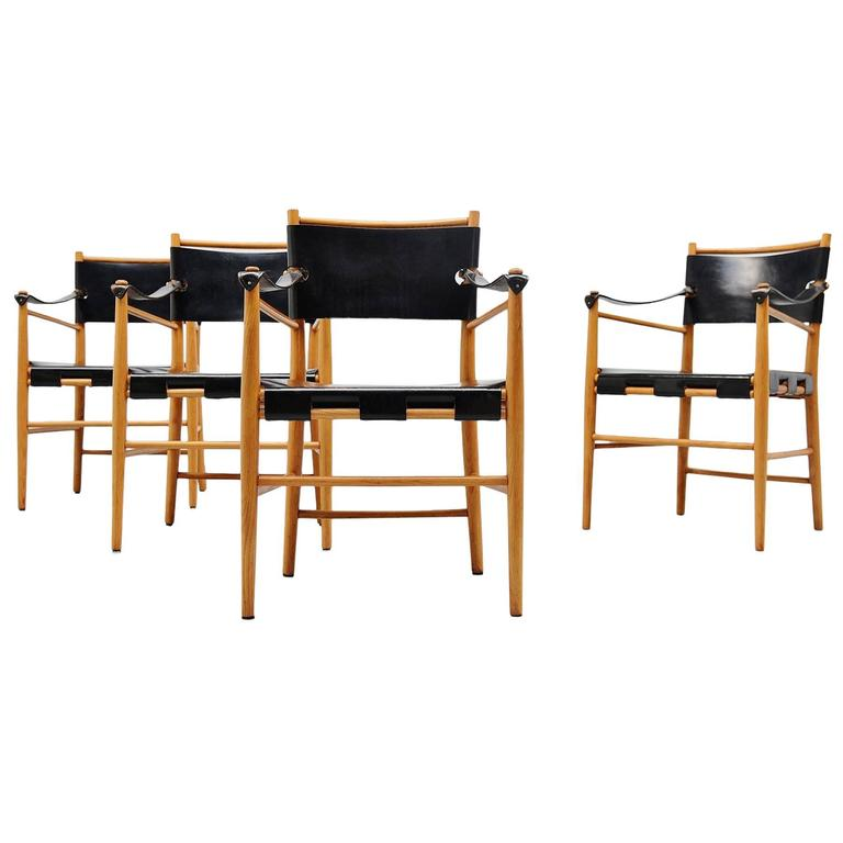 Italian Safari Chairs in Birch and Black Leather, 1960 For Sale