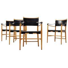 Italian Safari Chairs in Birch and Black Leather, 1960