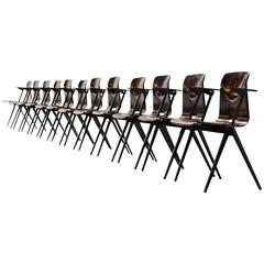 Pagholz Stacking Chairs with Arms Set of 12, Germany, 1970