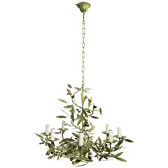 Green painted  Iron French Chandelier with Olives
