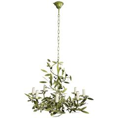 Green painted  Iron Chandelier with Olives