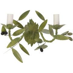 Handbemalte Wandleuchte mit Olivenzweigen