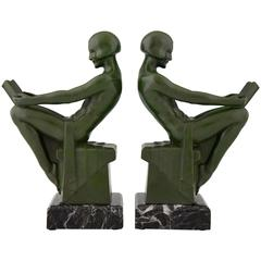 French Art Deco Bookends Reading Nudes by Max Le Verrier, 1930