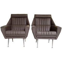 Pair of Mid-Century Modern Armchairs Grey Greenish Leather