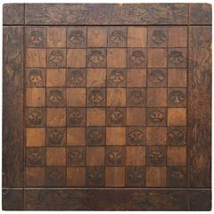Fine Old 1909 American Folk Art Game Board Signed Checkers Chess  FREE SHIPPING
