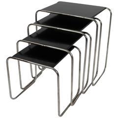 Set of Four Tubular Side Tables Designed by Marcel Breuer