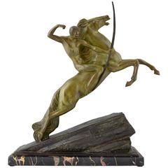 Art Deco Bronze Sculpture of an Archer on a Rearing Horse by Lemo, 1925