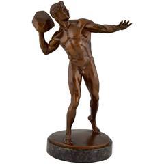 Antique Bronze Sculpture Male Nude Throwing Stone Hugo Siegwart