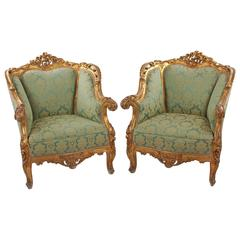 Pair of Mid Century Armchairs, Neo-Rococo, 1850-60, green, gold, Germany