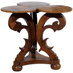 19th Century Italian Carved Walnut Tripod Table