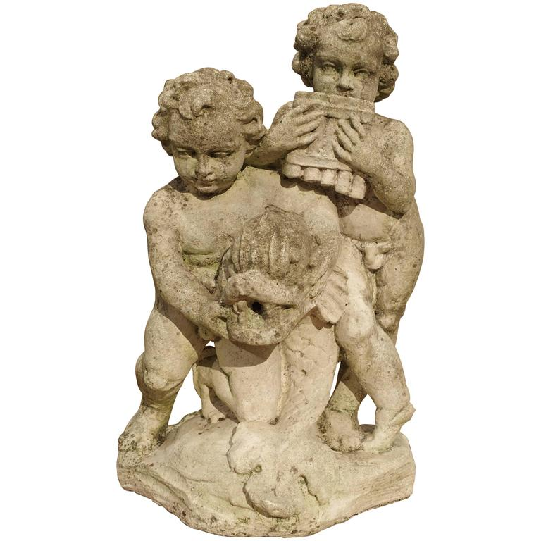 1900s Cast Reconstituted Stone Putti and Dolphin Statue/Fountain from France