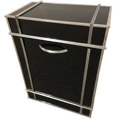 Superb Modernist Raymond Hood Art Deco Black Glass and Chrome Clothing Hamper