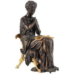 Aesthetic Movement Patinated & Gilded Bronze Statue of a Classical Draped Female