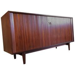 Arne Hovmand-Olsen Teak Tambour Door Cabinet with Hutch for Selig