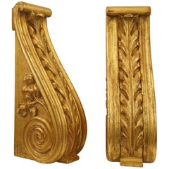 Large Pair of English 19th Century Carved and Water Gilded Wood Corbel Bracket