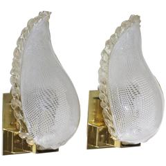 Pair of Murano Latticino Leaf Form Sconces