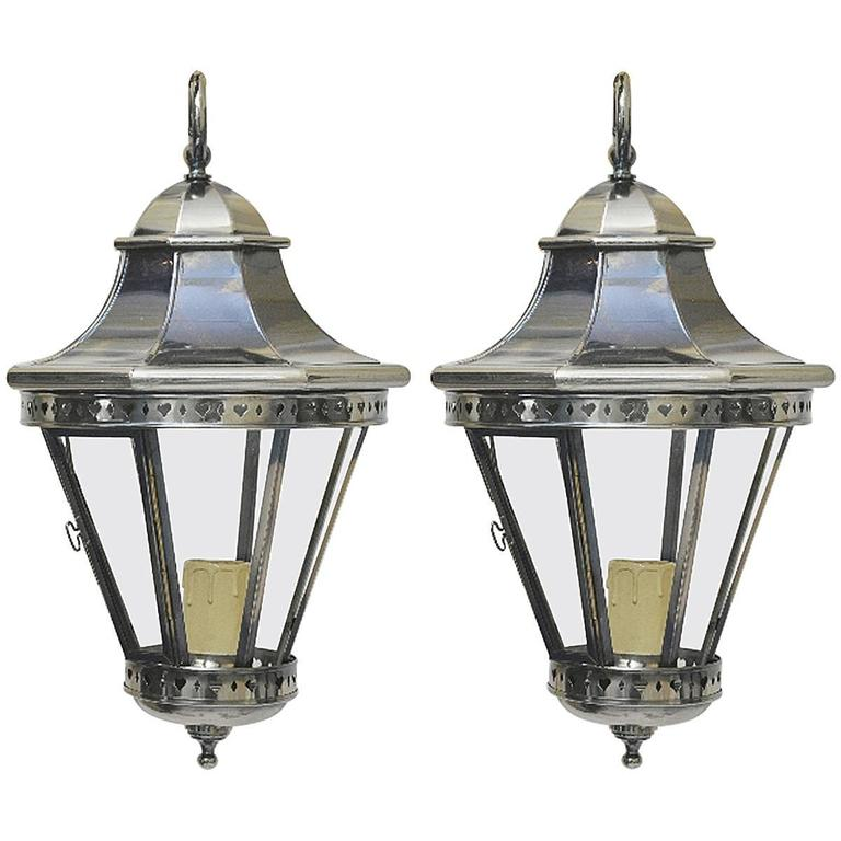 Pair of Vintage Polished Nickel Lanterns or Pendants