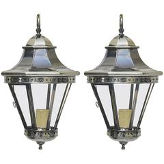 Pair of Vintage Polished Nickel Lanterns or Pendants