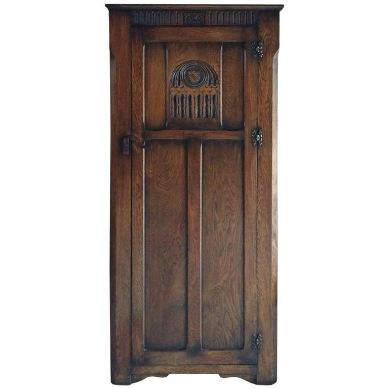 Antique Style Single Wardrobe Carved Solid Oak Gothic