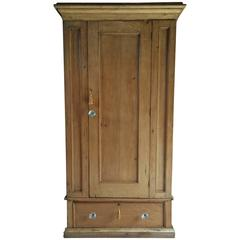 Antique Linen Press Solid Pine Cupboard 19th Century Victorian, Large