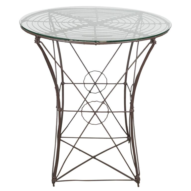 Outdoor Victorian Table: American 19th Century Woven Wire Victorian Garden Table