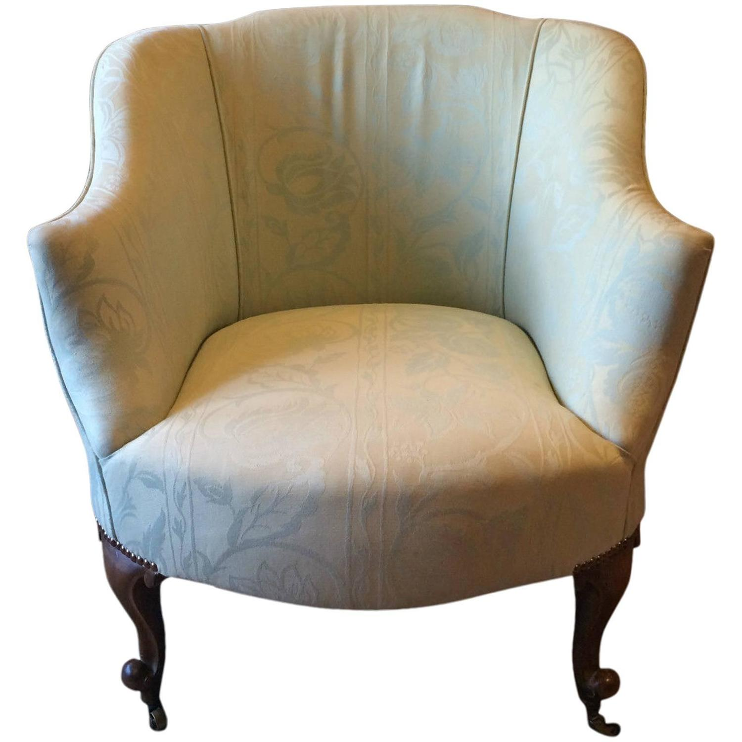 Antique Edwardian Tub Chair Armchair Early 20th Century Club Casters at  1stdibs - Antique Edwardian Tub Chair Armchair Early 20th Century Club