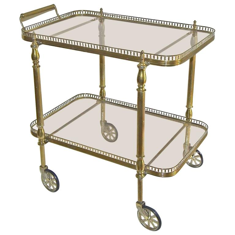 French Neoclic Vintage Br Bar Cart For