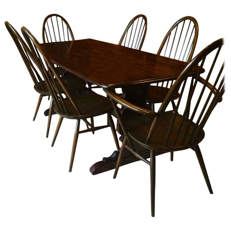 Vintage Ercol Dining Table With Six Chairs Solid Elm Quaker Design At 1stdibs