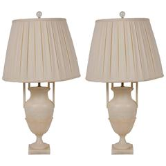 Pair of Alabaster Urn Form Lamps