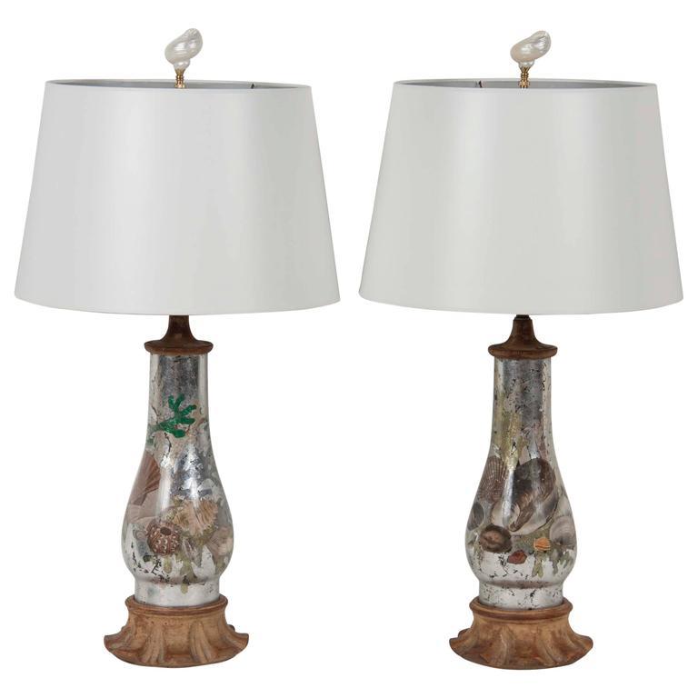 Reverse Decoupaged Urn Lamps