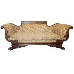 American Empire Carved Mahogany Settee