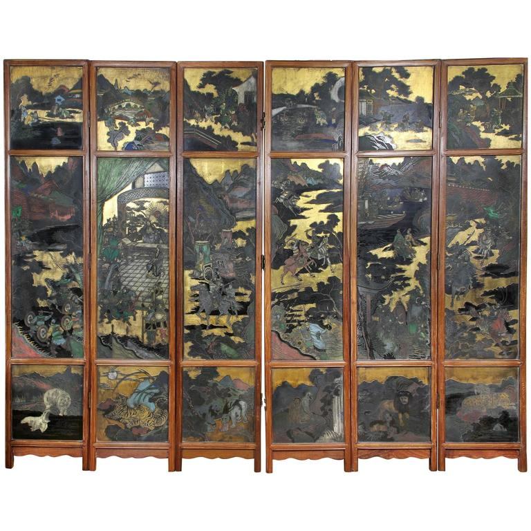 Chinese Coromandel Six-Panel Screen