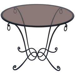 French Round Table of Wrought Iron and Smoked Glass