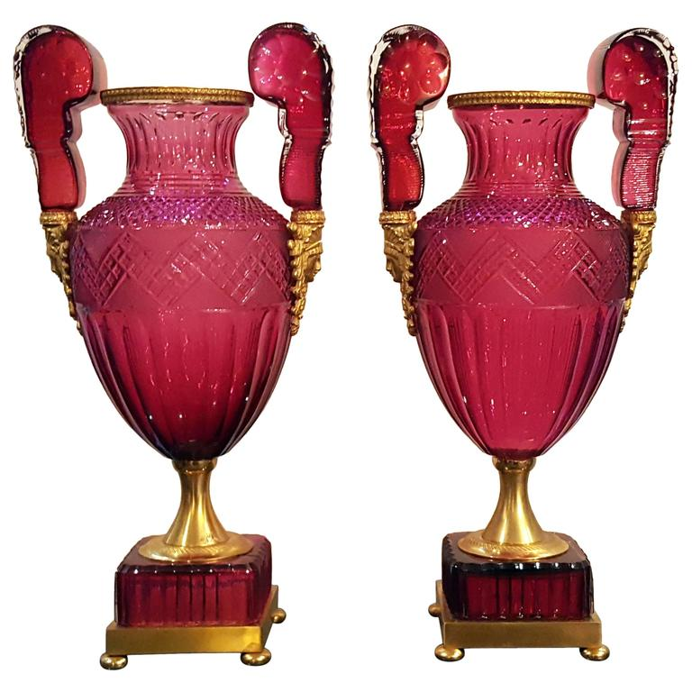 Pair of Ruby Vases Attributed to Saint Petersburg Imperial Glassworks