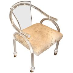 Carmichael Designs Lucite Chair with Italian Distressed Hide Seat