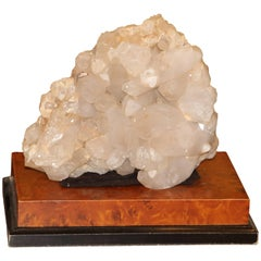 Large Quartz Crystal Specimen on a Separate Leather Covered Wood Base