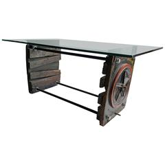 Industrial Factory-Foundry Forms Table/ Desk, Glass Work Surface