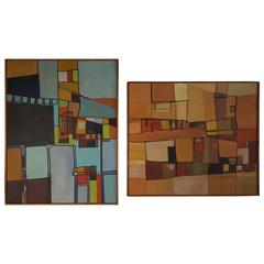 Mid-Century Modern Abstract Constructivism Oil Paintings, DeGlopper