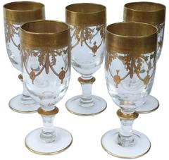 Antique French Lead-Crystal Water Glasses with Enameled Gilt Decoration