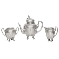Art Nouveau German Pewter Tea Service